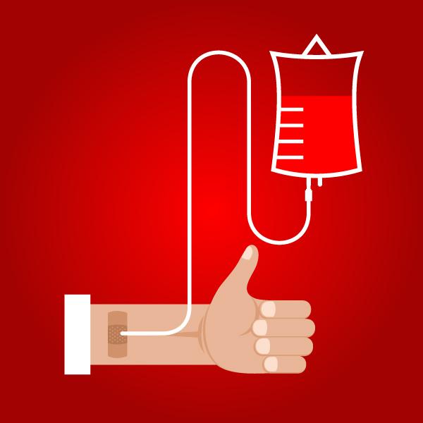 Una sacca di sangue si riempie durante la donazione