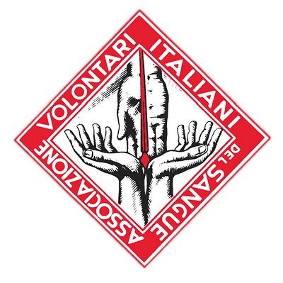 Il logo storico di AVIS, con due mani giunte che ricevono una goccia di sangue.