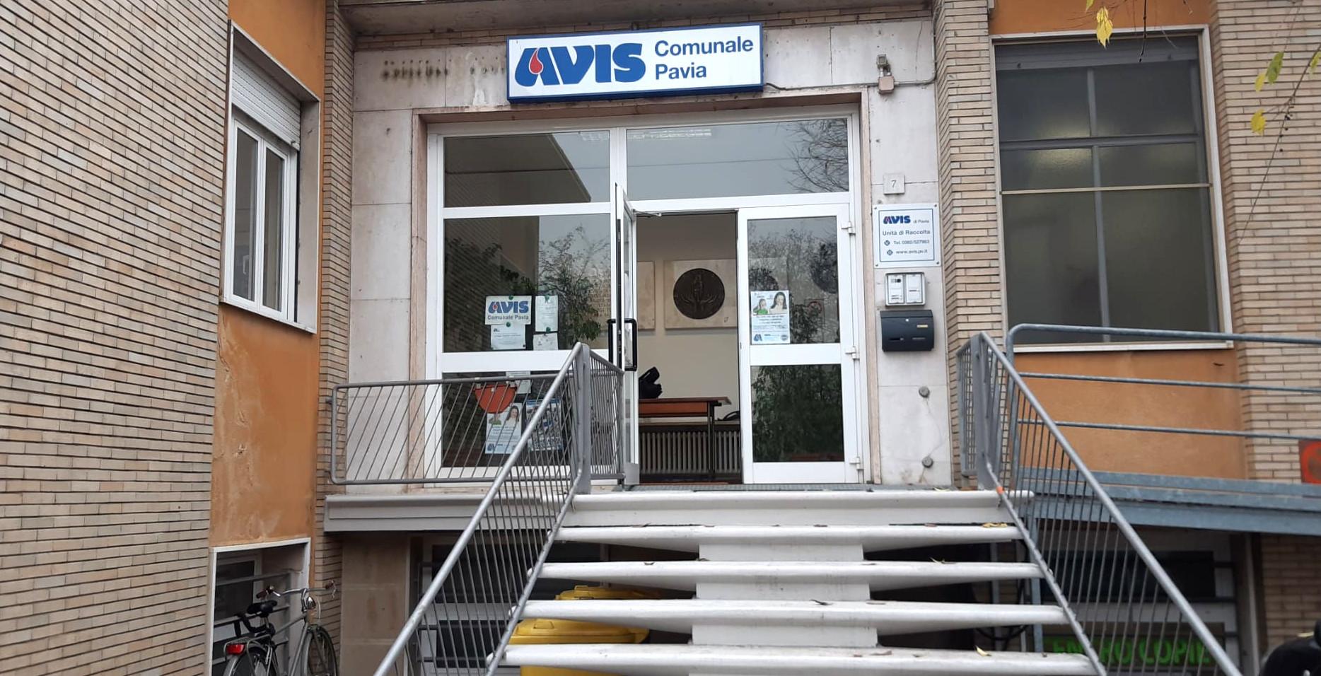 Ingresso della sede di AVIS Pavia